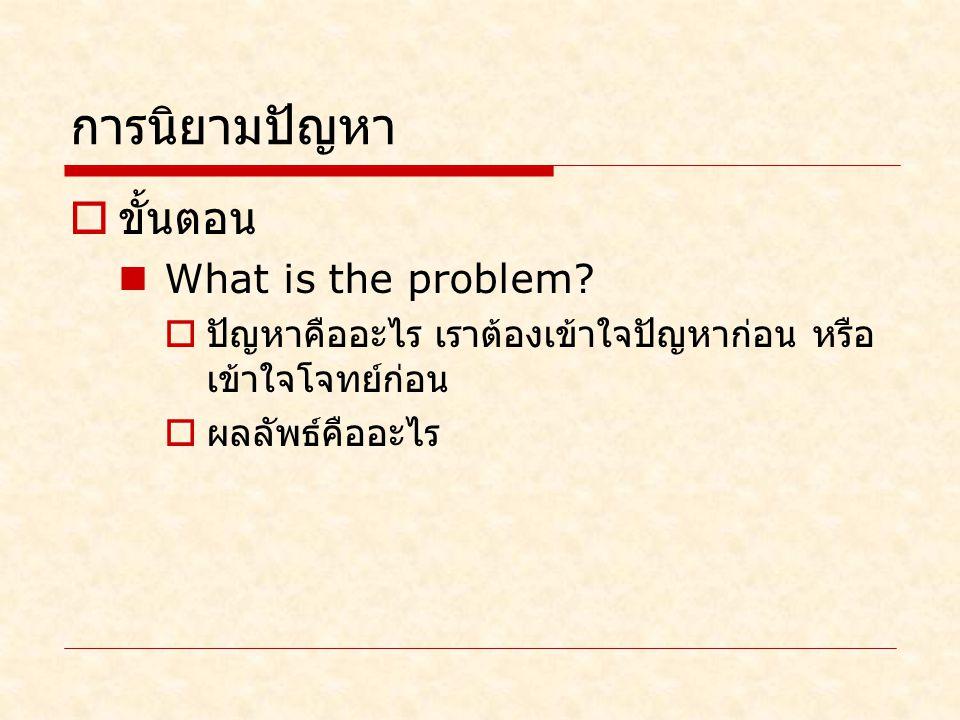 การนิยามปัญหา  ขั้นตอน What is the problem.