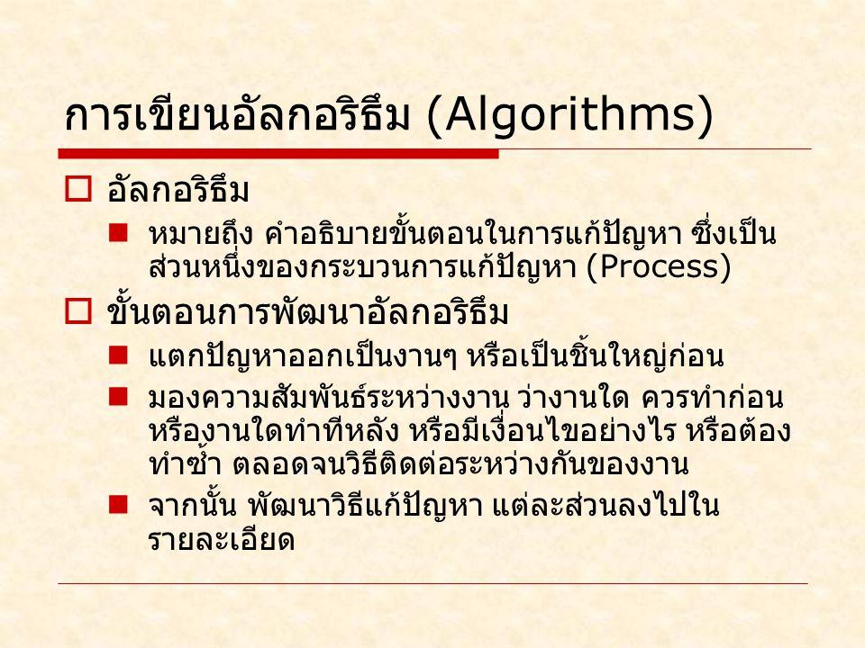 การเขียนอัลกอริธึม (Algorithms)  อัลกอริธึม หมายถึง คำอธิบายขั้นตอนในการแก้ปัญหา ซึ่งเป็น ส่วนหนึ่งของกระบวนการแก้ปัญหา (Process)  ขั้นตอนการพัฒนาอัลกอริธึม แตกปัญหาออกเป็นงานๆ หรือเป็นชิ้นใหญ่ก่อน มองความสัมพันธ์ระหว่างงาน ว่างานใด ควรทำก่อน หรืองานใดทำทีหลัง หรือมีเงื่อนไขอย่างไร หรือต้อง ทำซ้ำ ตลอดจนวิธีติดต่อระหว่างกันของงาน จากนั้น พัฒนาวิธีแก้ปัญหา แต่ละส่วนลงไปใน รายละเอียด