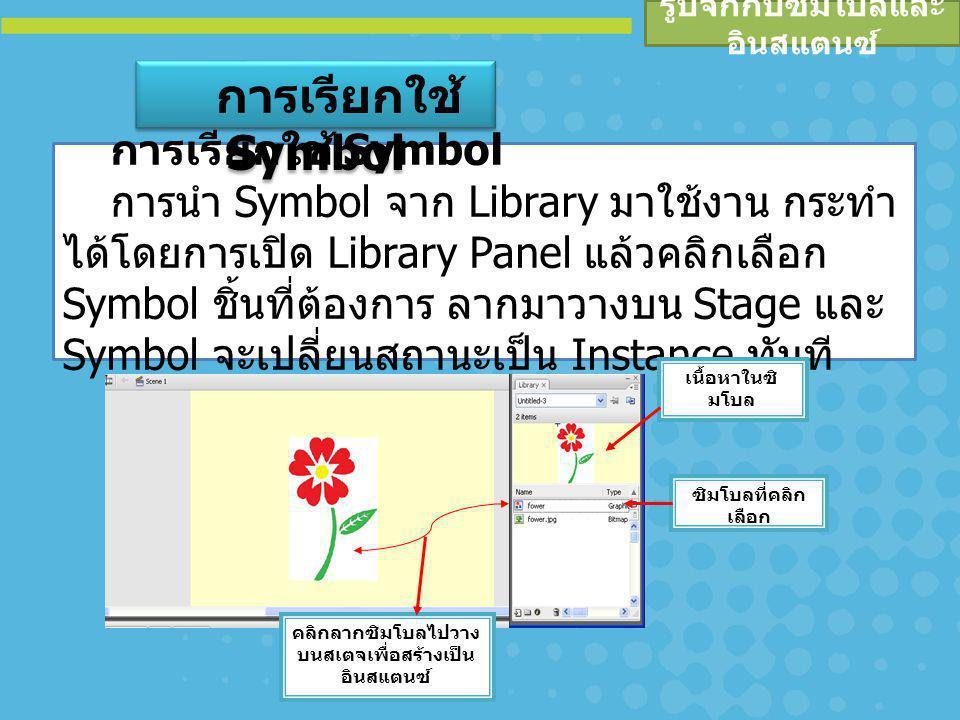 รูปจักกับซิมโบลและ อินสแตนซ์ เรียกใช้ Symbol จากไฟล์อื่น จุดเด่นของ Symbol คือ สามารถโอนใช้งานได้กับไฟล์ อื่น หรือเรียกใช้ Symbol จากไฟล์อื่น โดยมีหลักการดังนี้ เปิดไฟล์เอกสารที่ต้องการสร้างงาน เรียกใช้คำสั่ง File, Import, Open External Library… เลือกไฟล์ที่ต้องการนำ Library มาใช้งาน โปรแกรมจะเปิด Library มาให้เลือกทำงาน เมื่อ เลือกใช้ Symbol ๆ นั้นจะถูกโอนไปยังไฟล์เอกสารปัจจุบัน โดยอัตโนมัติ การเรียกใช้ Symbol