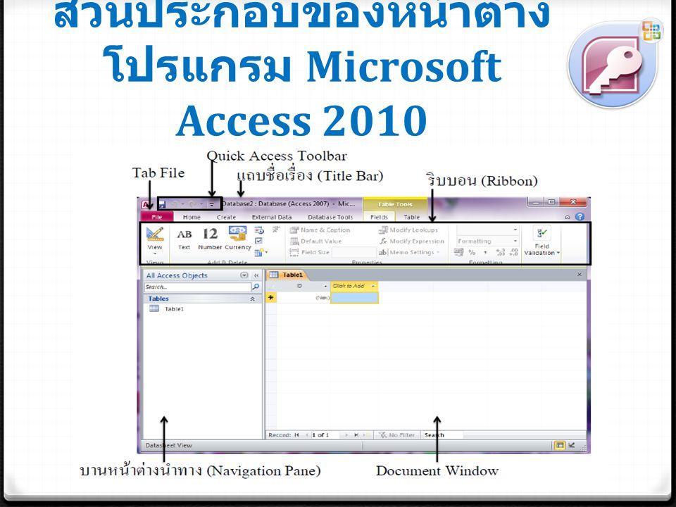 ส่วนประกอบของหน้าต่าง โปรแกรม Microsoft Access 2010