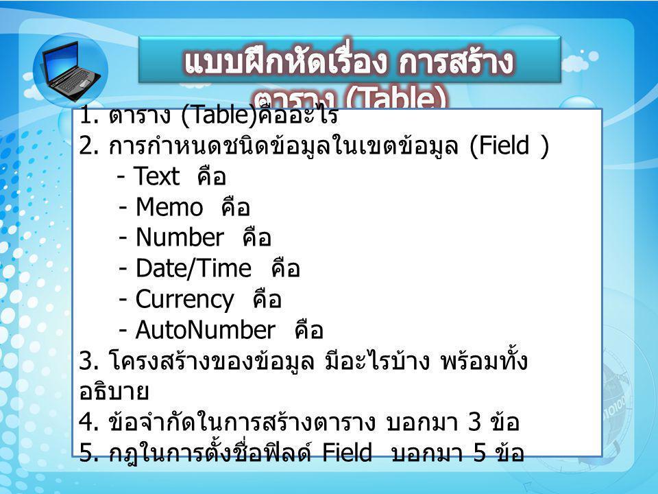 1. ตาราง (Table) คืออะไร 2. การกำหนดชนิดข้อมูลในเขตข้อมูล (Field ) - Text คือ - Memo คือ - Number คือ - Date/Time คือ - Currency คือ - AutoNumber คือ