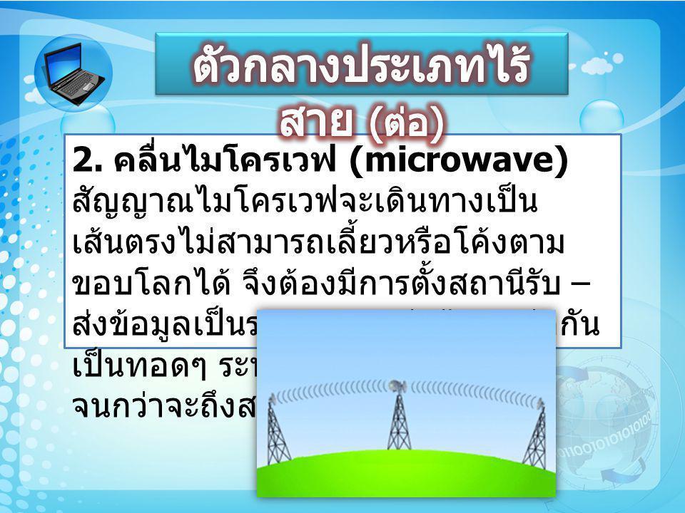 2. คลื่นไมโครเวฟ (microwave) สัญญาณไมโครเวฟจะเดินทางเป็น เส้นตรงไม่สามารถเลี้ยวหรือโค้งตาม ขอบโลกได้ จึงต้องมีการตั้งสถานีรับ – ส่งข้อมูลเป็นระยะๆ และ