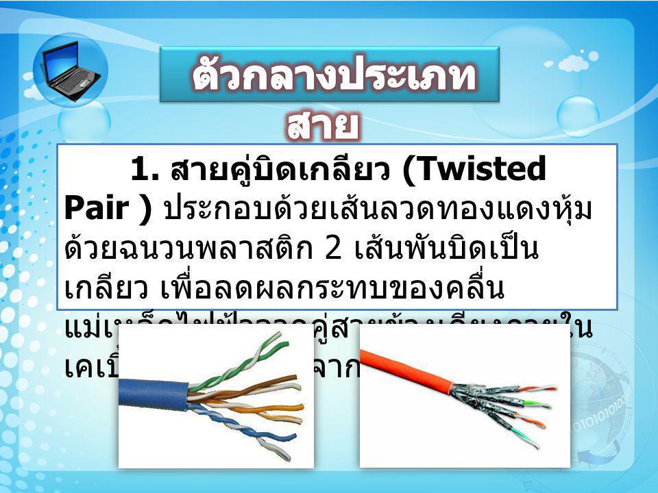 1. สายคู่บิดเกลียว (Twisted Pair ) ประกอบด้วยเส้นลวดทองแดงหุ้ม ด้วยฉนวนพลาสติก 2 เส้นพันบิดเป็น เกลียว เพื่อลดผลกระทบของคลื่น แม่เหล็กไฟฟ้าจากคู่สายข้