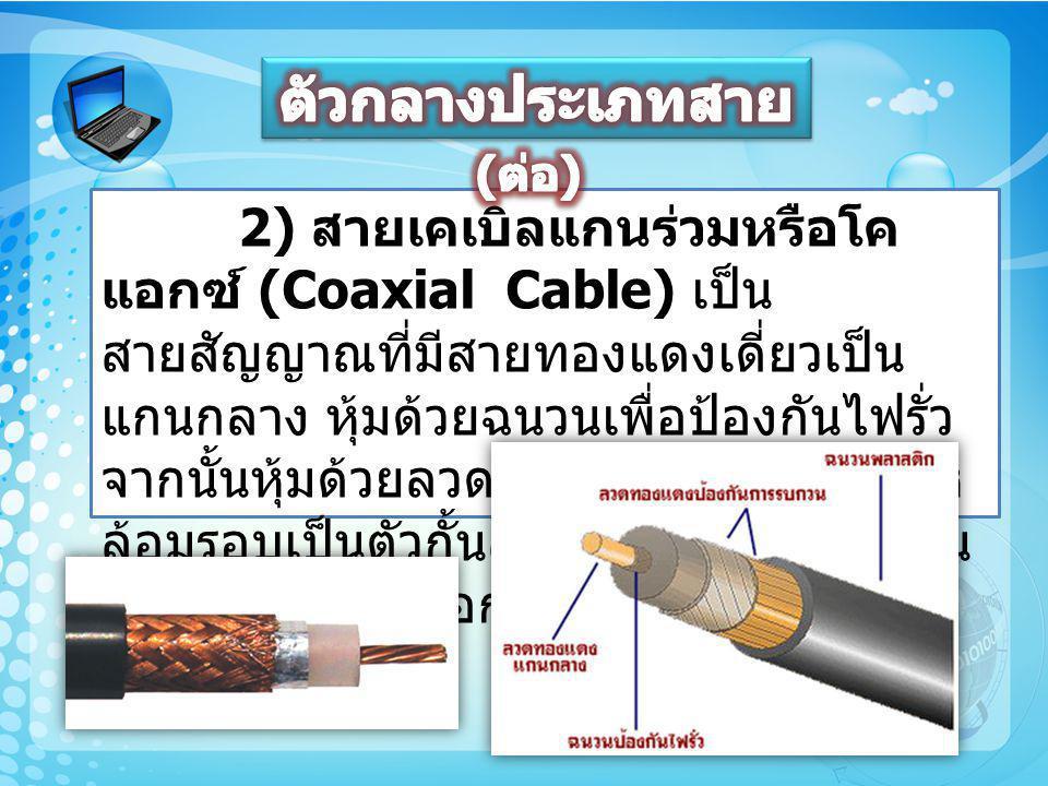 2) สายเคเบิลแกนร่วมหรือโค แอกซ์ (Coaxial Cable) เป็น สายสัญญาณที่มีสายทองแดงเดี่ยวเป็น แกนกลาง หุ้มด้วยฉนวนเพื่อป้องกันไฟรั่ว จากนั้นหุ้มด้วยลวดทองแดง