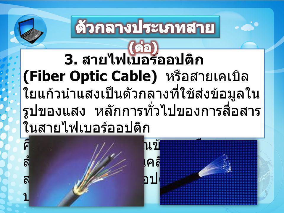 3. สายไฟเบอร์ออปติก (Fiber Optic Cable) หรือสายเคเบิล ใยแก้วนำแสงเป็นตัวกลางที่ใช้ส่งข้อมูลใน รูปของแสง หลักการทั่วไปของการสื่อสาร ในสายไฟเบอร์ออปติก
