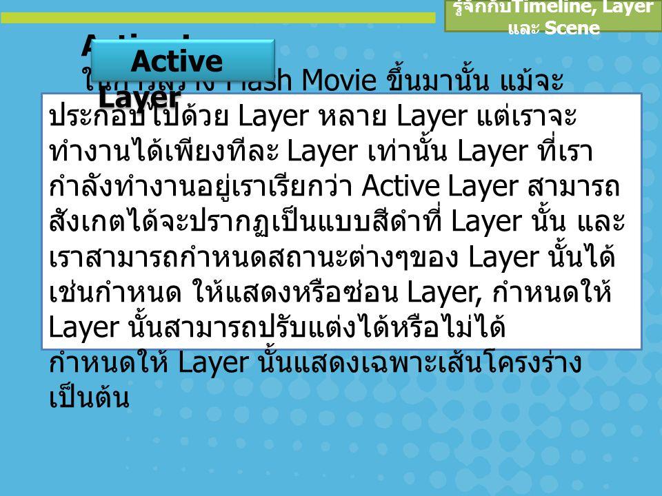 รู้จักกับ Timeline, Layer และ Scene Active Layer ในการสร้าง Flash Movie ขึ้นมานั้น แม้จะ ประกอบไปด้วย Layer หลาย Layer แต่เราจะ ทำงานได้เพียงทีละ Layer เท่านั้น Layer ที่เรา กำลังทำงานอยู่เราเรียกว่า Active Layer สามารถ สังเกตได้จะปรากฏเป็นแบบสีดำที่ Layer นั้น และ เราสามารถกำหนดสถานะต่างๆของ Layer นั้นได้ เช่นกำหนด ให้แสดงหรือซ่อน Layer, กำหนดให้ Layer นั้นสามารถปรับแต่งได้หรือไม่ได้ กำหนดให้ Layer นั้นแสดงเฉพาะเส้นโครงร่าง เป็นต้น Active Layer