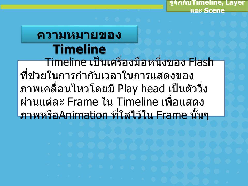 Play head เป็นเครื่องมือที่แสดงวัตถุต่างๆ ที่อยู่ใน Frame บน Stage ทำหน้าที่คล้ายกับ หัวอ่านในเครื่องเล่นวิดีโอเทปที่วิ่งบน Timeline ผ่านแต่ละ Frame เพื่อแสดงวัตถุที่ อยู่ใน Frame นั้น ออกมาบน Stage โดย Play head จะทำงานที่สัมพันธ์กับเวลา และแสดง ภาพแต่ละภาพออกมาบน Stage อย่างรวดเร็ว ทำให้ดูเหมือนมีการเคลื่อนไหวเกิดขึ้น ความหมายของ Play head