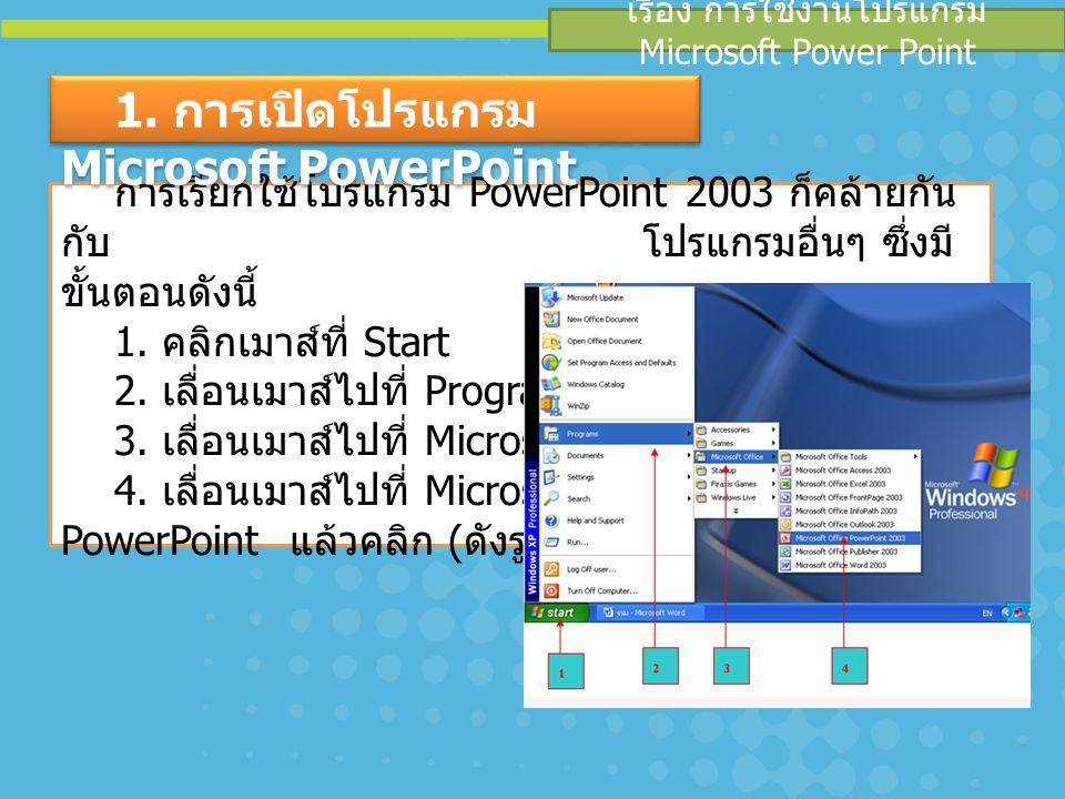 เรื่อง การใช้งานโปรแกรม Microsoft Power Point การเรียกใช้โปรแกรม PowerPoint 2003 ก็คล้ายกัน กับ โปรแกรมอื่นๆ ซึ่งมี ขั้นตอนดังนี้ 1. คลิกเมาส์ที่ Star