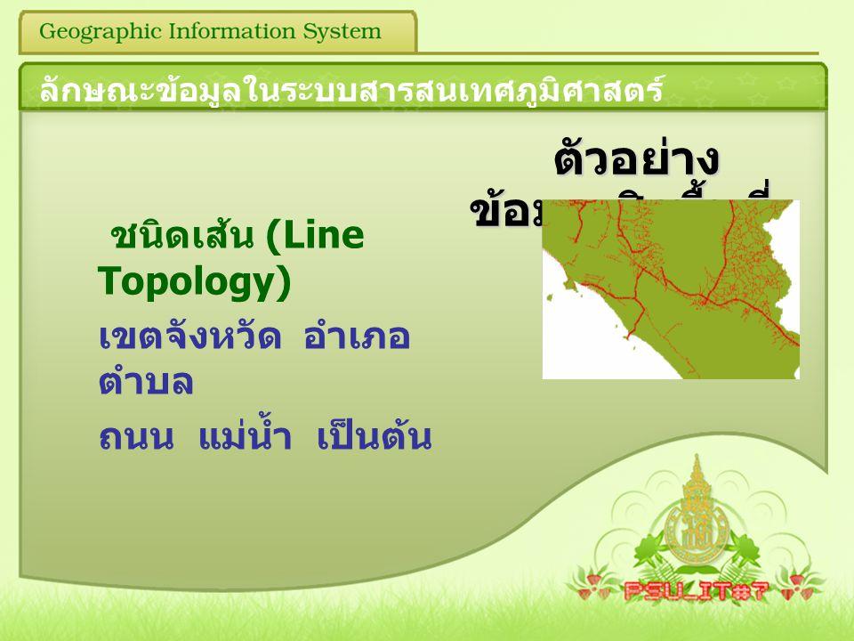 ตัวอย่าง ข้อมูลเชิงพื้นที่ ตัวอย่าง ข้อมูลเชิงพื้นที่ ชนิดเส้น (Line Topology) เขตจังหวัด อำเภอ ตำบล ถนน แม่น้ำ เป็นต้น ลักษณะข้อมูลในระบบสารสนเทศภูมิ