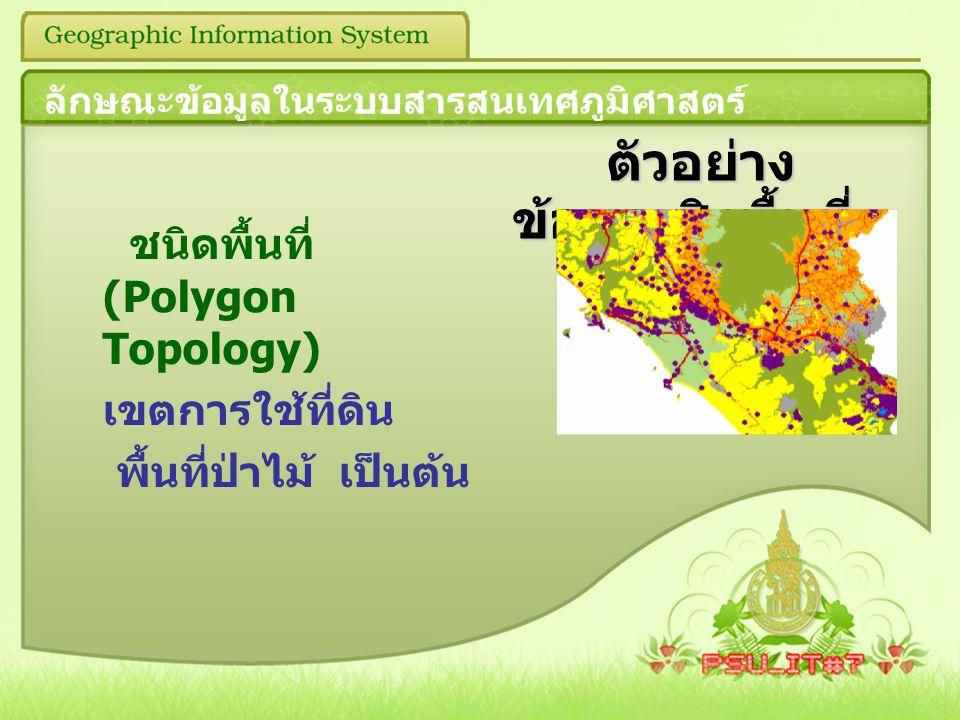 ตัวอย่าง ข้อมูลเชิงพื้นที่ ตัวอย่าง ข้อมูลเชิงพื้นที่ ชนิดพื้นที่ (Polygon Topology) เขตการใช้ที่ดิน พื้นที่ป่าไม้ เป็นต้น ลักษณะข้อมูลในระบบสารสนเทศภ