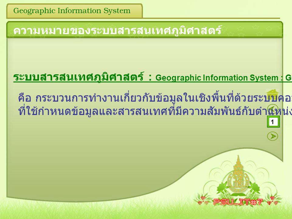 1 ความหมายของระบบสารสนเทศภูมิศาสตร์ ระบบสารสนเทศภูมิศาสตร์ : Geographic Information System : GIS คือ กระบวนการทำงานเกี่ยวกับข้อมูลในเชิงพื้นที่ด้วยระบ