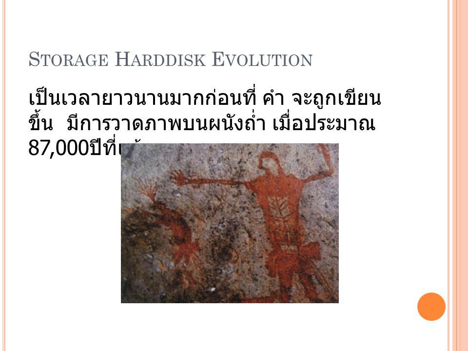 S TORAGE H ARDDISK E VOLUTION เป็นเวลายาวนานมากก่อนที่ คำ จะถูกเขียน ขึ้น มีการวาดภาพบนผนังถ่ำ เมื่อประมาณ 87,000 ปีที่แล้ว