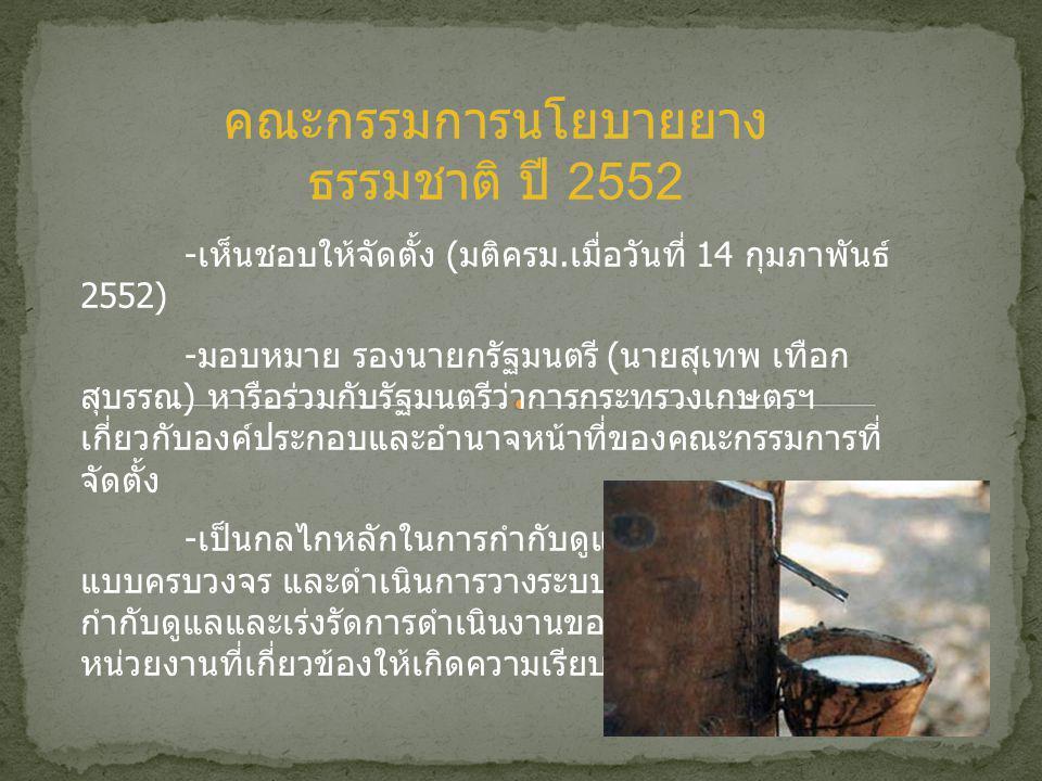 คณะกรรมการนโยบายยาง ธรรมชาติ ปี 2552 - เห็นชอบให้จัดตั้ง ( มติครม.