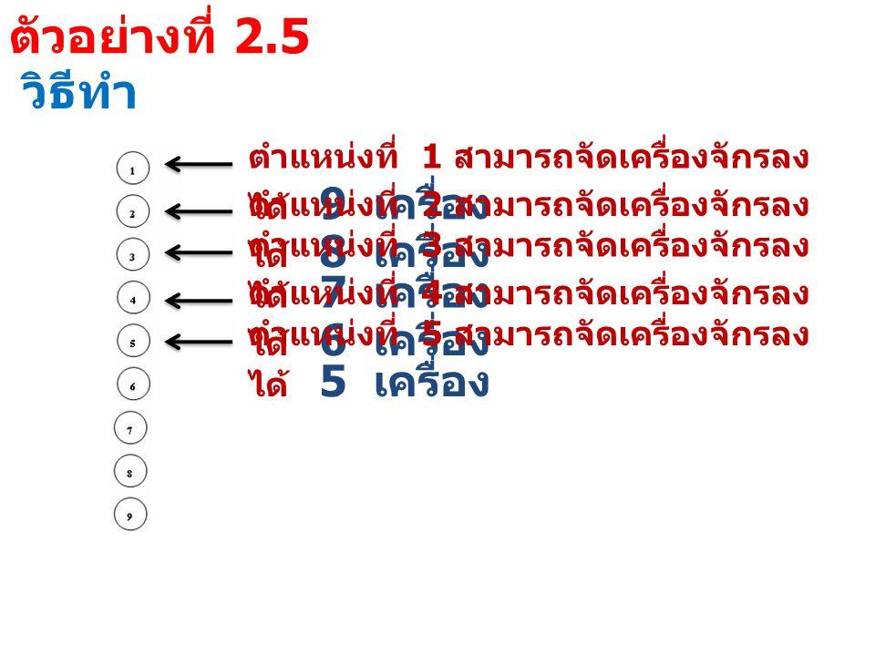 ตัวอย่างที่ 2.5 วิธีทำ ตำแหน่งที่ 1 สามารถจัดเครื่องจักรลง ได้ 9 เครื่อง ตำแหน่งที่ 2 สามารถจัดเครื่องจักรลง ได้ 8 เครื่อง ตำแหน่งที่ 3 สามารถจัดเครื่องจักรลง ได้ 7 เครื่อง ตำแหน่งที่ 4 สามารถจัดเครื่องจักรลง ได้ 6 เครื่อง ตำแหน่งที่ 5 สามารถจัดเครื่องจักรลง ได้ 5 เครื่อง