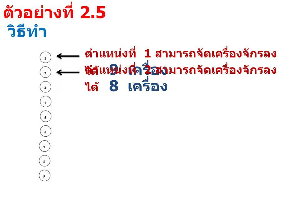 ตัวอย่างที่ 2.5 วิธีทำ ตำแหน่งที่ 1 สามารถจัดเครื่องจักรลง ได้ 9 เครื่อง ตำแหน่งที่ 2 สามารถจัดเครื่องจักรลง ได้ 8 เครื่อง