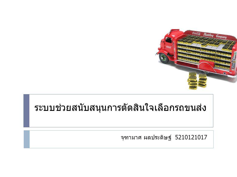 ระบบช่วยสนับสนุนการตัดสินใจเลือกรถขนส่ง จุฑามาศ ผลประดิษฐ์ 5210121017