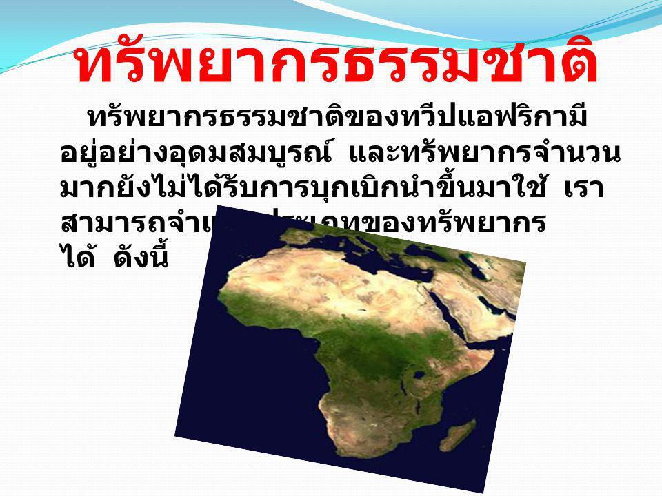 ทรัพยากรป่าไม้ ป่าไม้ของแอฟริกามี พื้นที่ป่าไม้ประมาณ 1 ใน 6 ของพื้นที่ทวีป โดยมีป่าดงดิบอยู่ทาง บริเวณเส้นศูนย์สูตรตามลุ่มแม่น้ำคองโก และป่าไม้ในเขตอบอุ่นอยู่ทางภาคตะวันตก และตะวันออกของทวีปป่าไม้ส่วนใหญ่มักถูก ตัดโค่นเพื่อนำพื้นที่มาใช้ในการเพาะปลูก มากกว่าจะใช้ ประโยชน์จากเนื้อไม้โดยตรง ไม้สำคัญของแอฟริกา ได้แก่ มะฮอก กะนี แอวอดิเร - อิโรโคโอคูเม และลิมบา