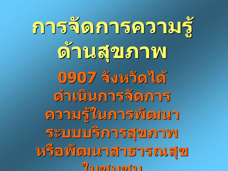 การจัดการความรู้ ด้านสุขภาพ 0907 จังหวัดได้ ดำเนินการจัดการ ความรู้ในการพัฒนา ระบบบริการสุขภาพ หรือพัฒนาสาธารณสุข ในชุมชน