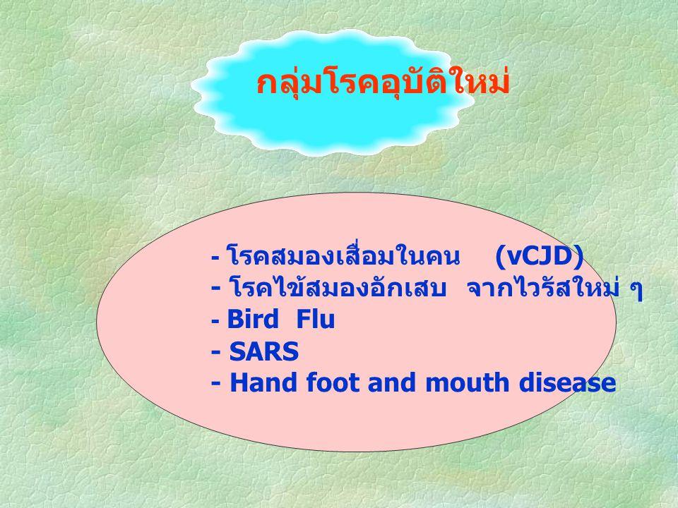 กลุ่มโรคอุบัติใหม่ - โรคสมองเสื่อมในคน (vCJD) - โรคไข้สมองอักเสบ จากไวรัสใหม่ ๆ - Bird Flu - SARS - Hand foot and mouth disease