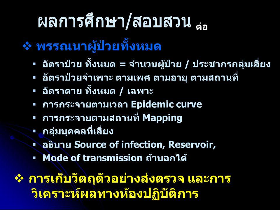  พรรณนาผู้ป่วยทั้งหมด   อัตราป่วย ทั้งหมด = จำนวนผู้ป่วย / ประชากรกลุ่มเสี่ยง   อัตราป่วยจำเพาะ ตามเพศ ตามอายุ ตามสถานที่   อัตราตาย ทั้งหมด /