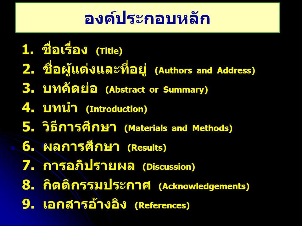 องค์ประกอบหลัก 1. ชื่อเรื่อง (Title) 2. ชื่อผู้แต่งและที่อยู่ (Authors and Address) 3. บทคัดย่อ (Abstract or Summary) 4. บทนำ (Introduction) 5. วิธีกา