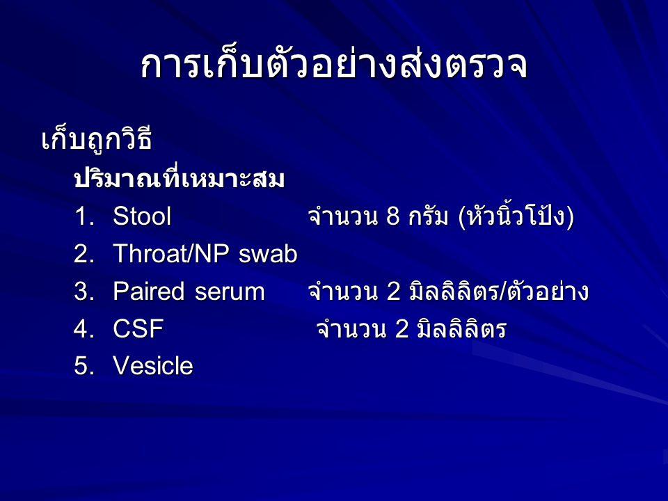 การเก็บตัวอย่างส่งตรวจ เก็บถูกวิธีปริมาณที่เหมาะสม 1.Stool จำนวน 8 กรัม ( หัวนิ้วโป้ง ) 2.Throat/NP swab 3.Paired serum จำนวน 2 มิลลิลิตร / ตัวอย่าง 4
