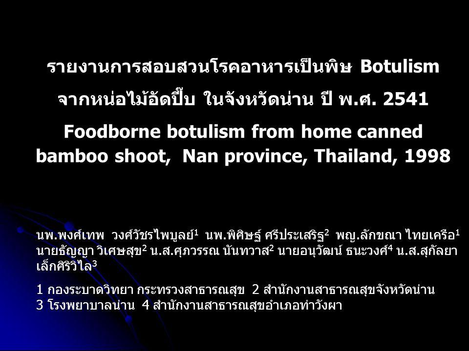 รายงานการสอบสวนโรคอาหารเป็นพิษ Botulism จากหน่อไม้อัดปี๊บ ในจังหวัดน่าน ปี พ.ศ. 2541 Foodborne botulism from home canned bamboo shoot, Nan province, T