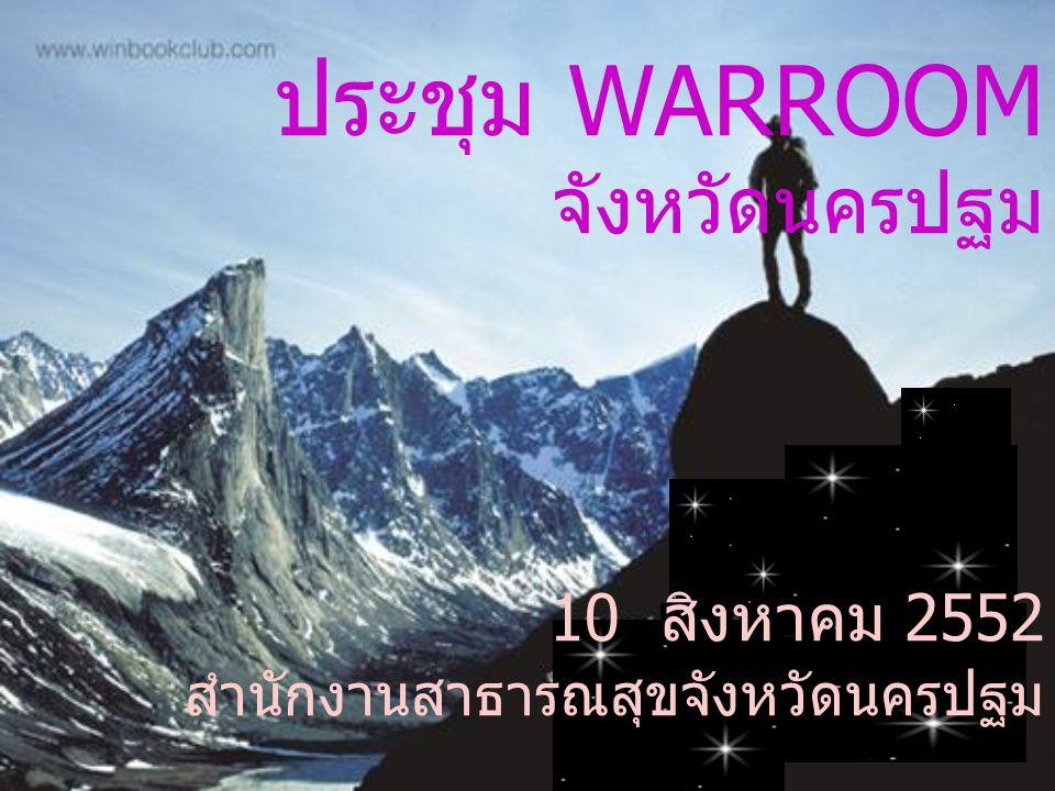 ประชุม WARROOM จังหวัดนครปฐม 10 สิงหาคม 2552 สำนักงานสาธารณสุขจังหวัดนครปฐม