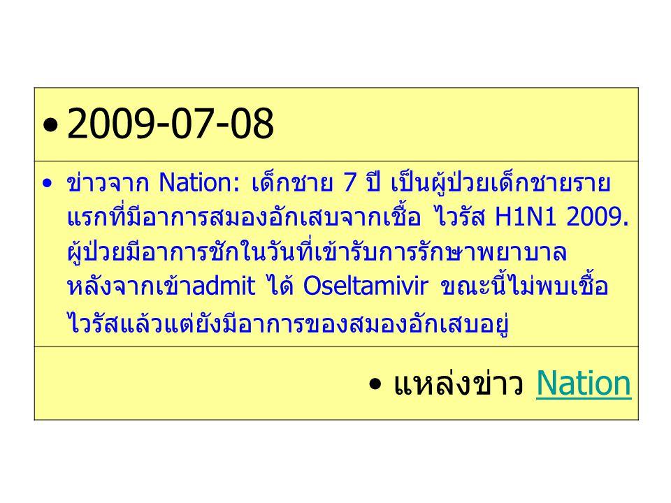 2009-07-08 ข่าวจาก Nation: เด็กชาย 7 ปี เป็นผู้ป่วยเด็กชายราย แรกที่มีอาการสมองอักเสบจากเชื้อ ไวรัส H1N1 2009. ผู้ป่วยมีอาการชักในวันที่เข้ารับการรักษ