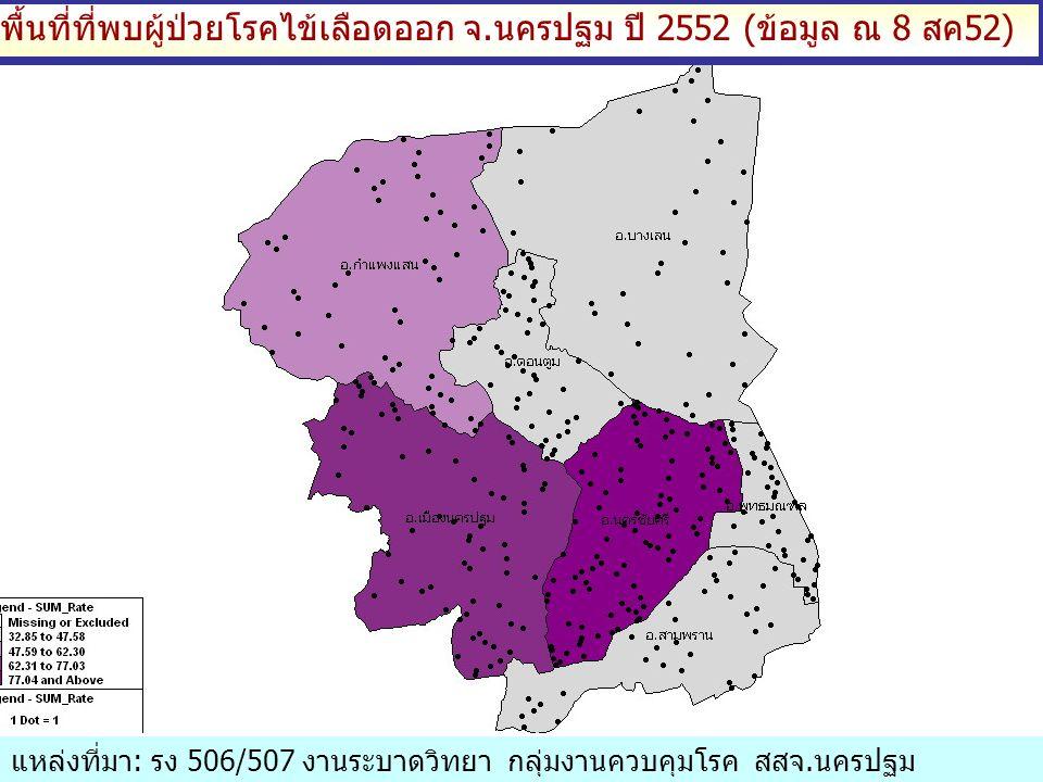 พื้นที่ที่พบผู้ป่วยโรคไข้เลือดออก จ.นครปฐม ปี 2552 (ข้อมูล ณ 8 สค52) แหล่งที่มา: รง 506/507 งานระบาดวิทยา กลุ่มงานควบคุมโรค สสจ.นครปฐม
