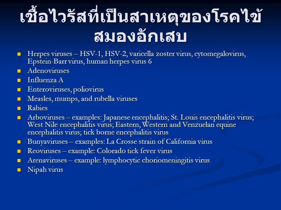เชื้อไวรัสที่เป็นสาเหตุของโรคไข้ สมองอักเสบ Herpes viruses – HSV-1, HSV-2, varicella zoster virus, cytomegalovirus, Epstein-Barr virus, human herpes v