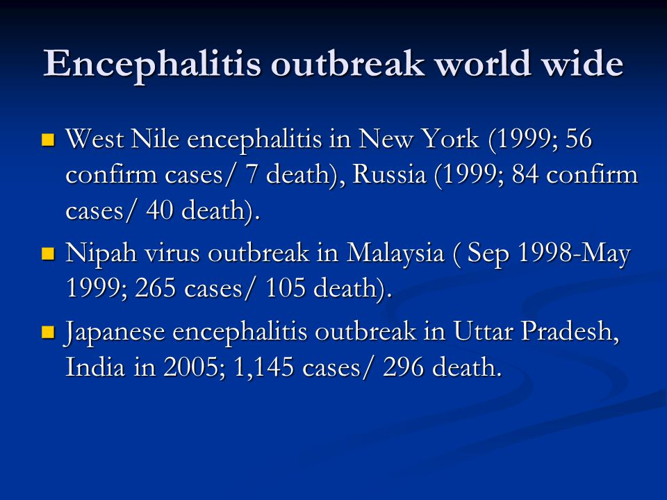 History of Japanese Encephalitis 1800s – recognized in Japan 1800s – recognized in Japan 1924 – Japan epidemic.