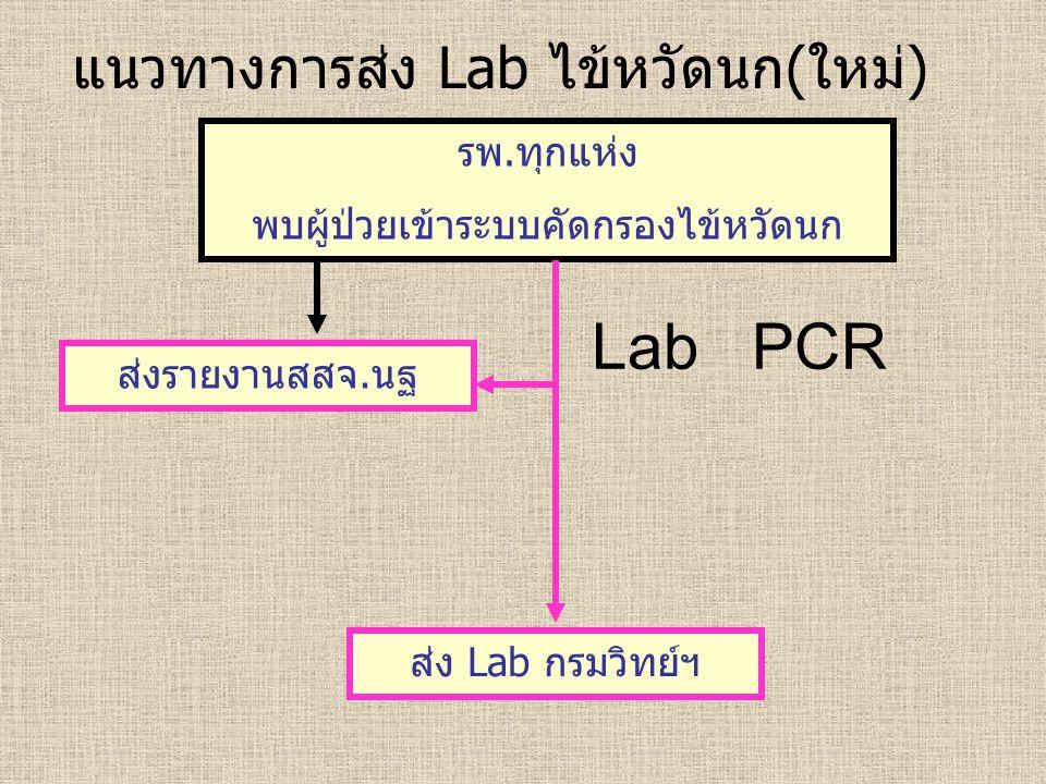 แนวทางการส่ง Lab ไข้หวัดนก(ใหม่) รพ.ทุกแห่ง พบผู้ป่วยเข้าระบบคัดกรองไข้หวัดนก ส่งรายงานสสจ.นฐ ส่ง Lab กรมวิทย์ฯ Lab PCR