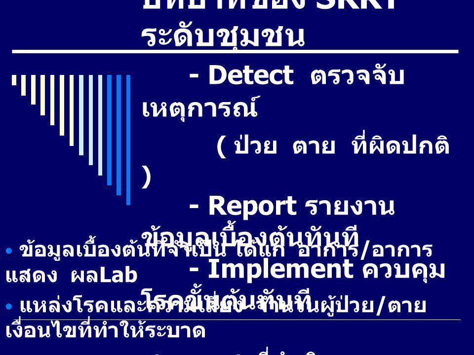 บทบาทของ SRRT ระดับชุมชน - Detect ตรวจจับ เหตุการณ์ ( ป่วย ตาย ที่ผิดปกติ ) - Report รายงาน ข้อมูลเบื้องต้นทันที - Implement ควบคุม โรคขั้นต้นทันที ข้