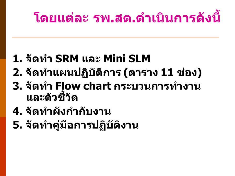 1. จัดทำ SRM และ Mini SLM 2. จัดทำแผนปฏิบัติการ (ตาราง 11 ช่อง) 3. จัดทำ Flow chart กระบวนการทำงาน และตัวชี้วัด 4. จัดทำผังกำกับงาน 5. จัดทำคู่มือการป