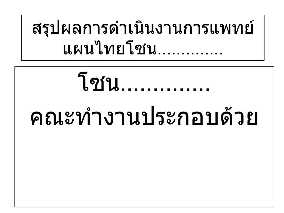 โซน.............. คณะทำงานประกอบด้วย สรุปผลการดำเนินงานการแพทย์ แผนไทยโซน..............