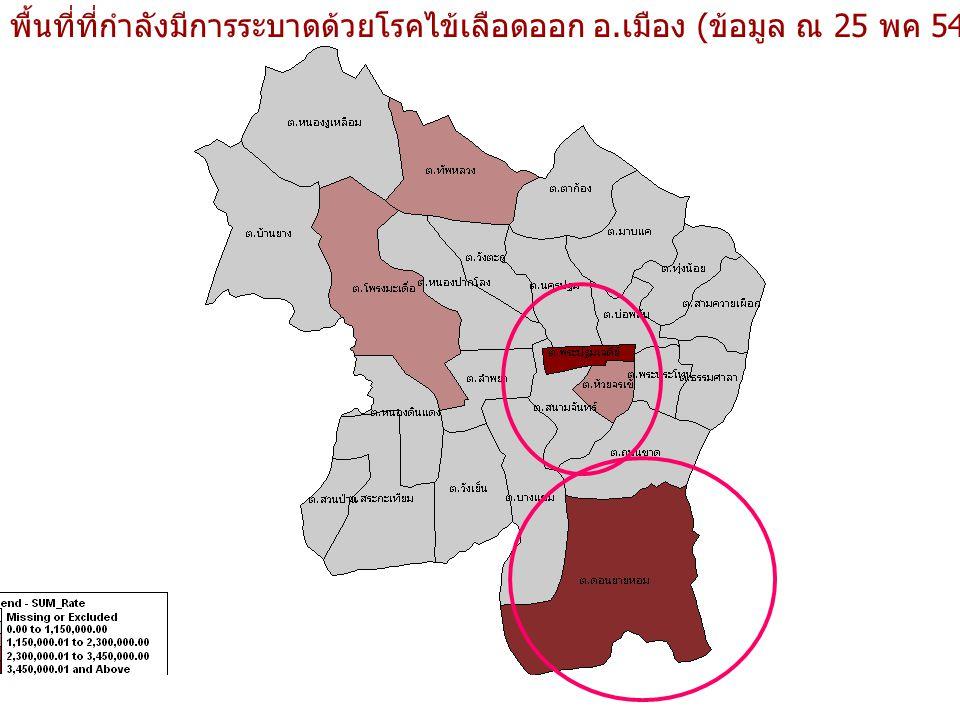 พื้นที่ที่กำลังมีการระบาดด้วยโรคไข้เลือดออก อ.เมือง (ข้อมูล ณ 25 พค 54)