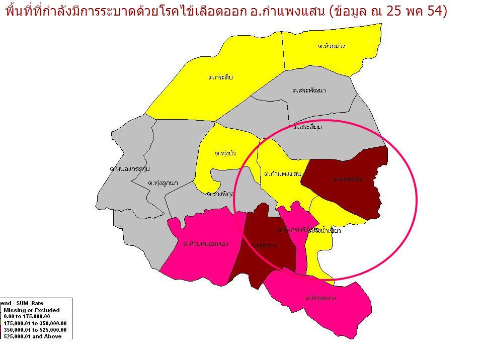 พื้นที่ที่กำลังมีการระบาดด้วยโรคไข้เลือดออก อ.กำแพงแสน (ข้อมูล ณ 25 พค 54)