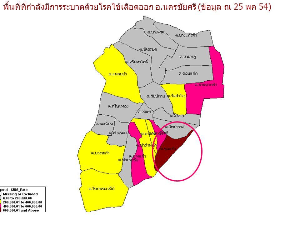 พื้นที่ที่กำลังมีการระบาดด้วยโรคไข้เลือดออก อ.นครชัยศรี (ข้อมูล ณ 25 พค 54)