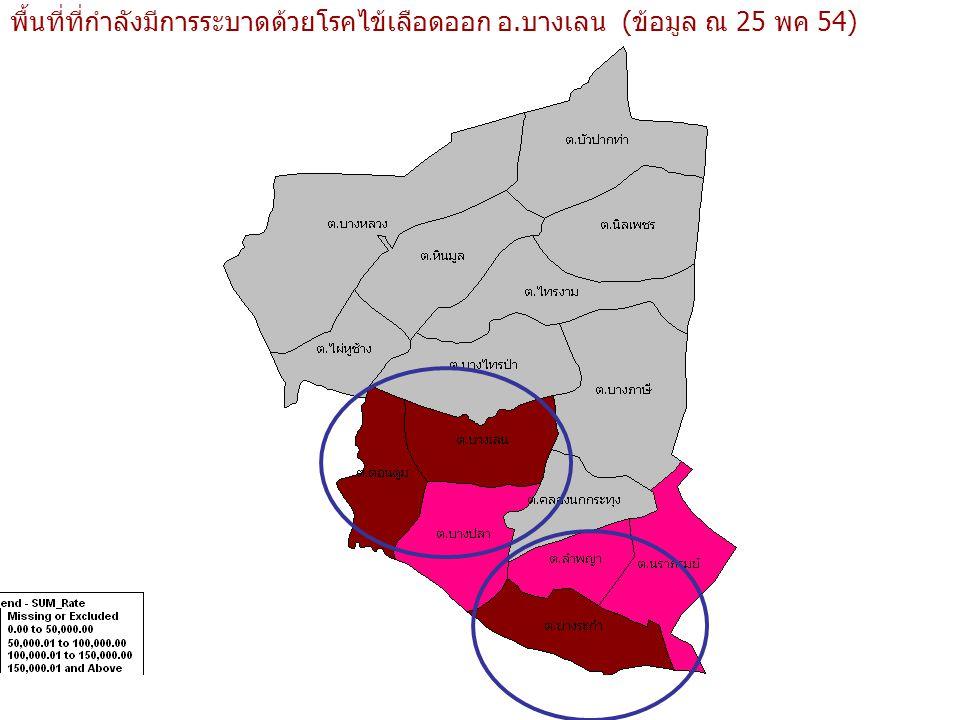 พื้นที่ที่กำลังมีการระบาดด้วยโรคไข้เลือดออก อ.บางเลน (ข้อมูล ณ 25 พค 54)