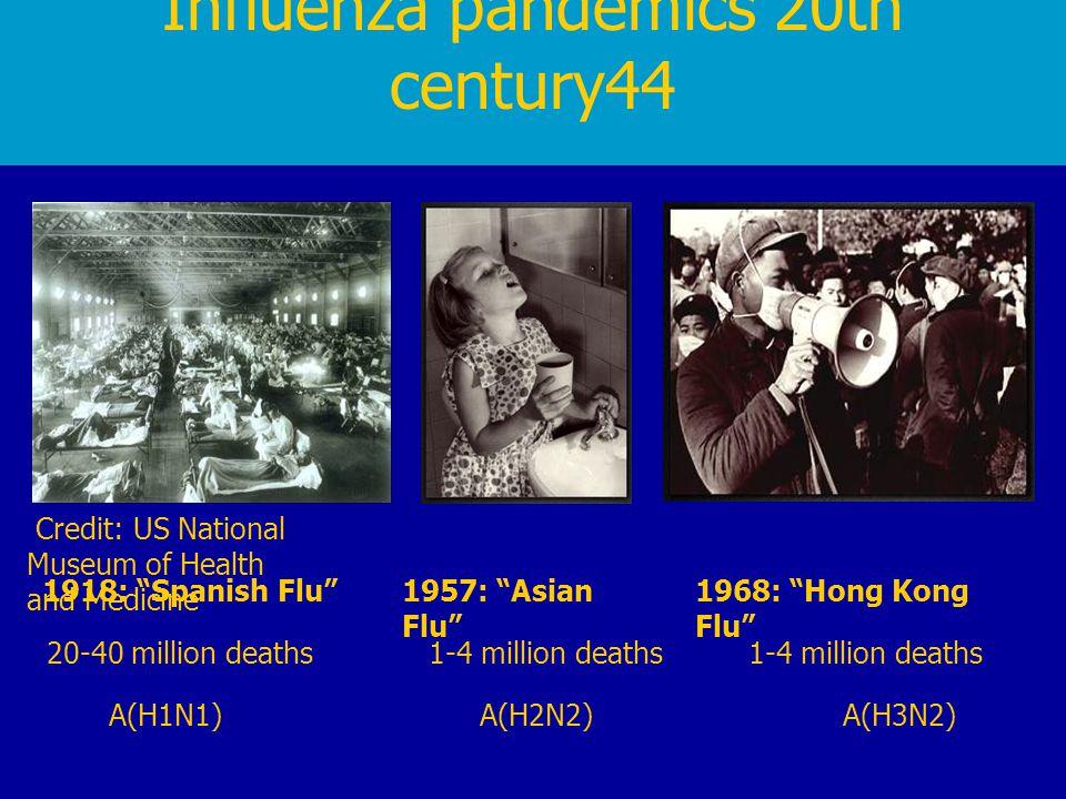 "Influenza pandemics 20th century44 A(H1N1)A(H2N2)A(H3N2) 1918: ""Spanish Flu""1957: ""Asian Flu"" 1968: ""Hong Kong Flu"" 20-40 million deaths1-4 million de"