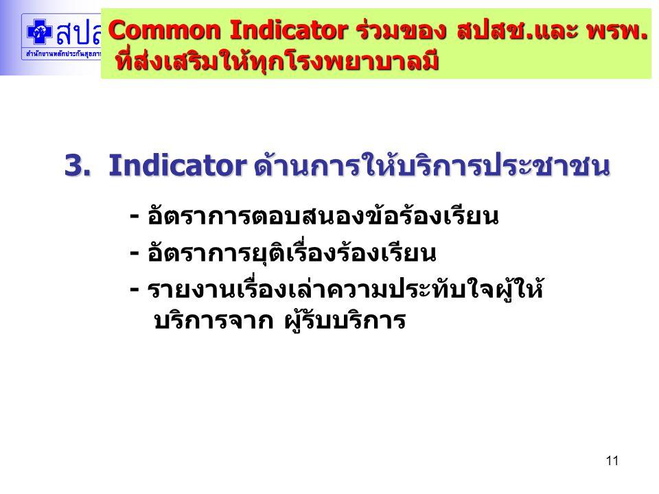 11 3. Indicator ด้านการให้บริการประชาชน - อัตราการตอบสนองข้อร้องเรียน - อัตราการยุติเรื่องร้องเรียน - รายงานเรื่องเล่าความประทับใจผู้ให้ บริการจาก ผู้