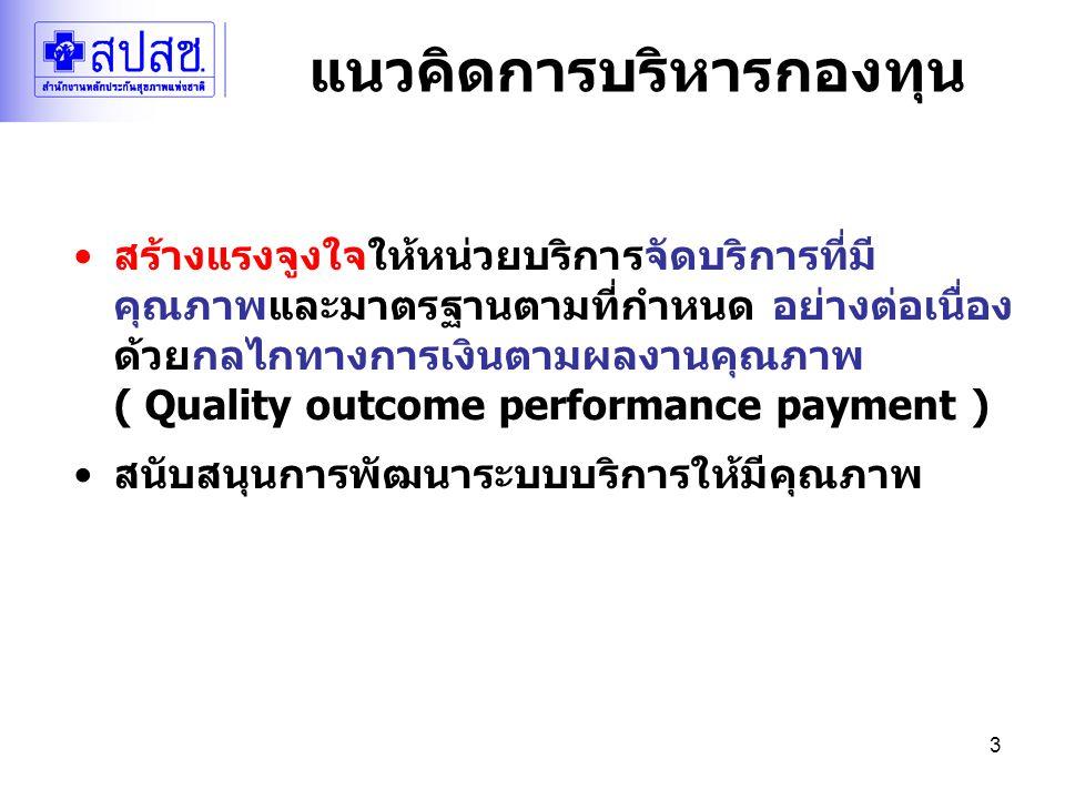 3 แนวคิดการบริหารกองทุน สร้างแรงจูงใจให้หน่วยบริการจัดบริการที่มี คุณภาพและมาตรฐานตามที่กำหนด อย่างต่อเนื่อง ด้วยกลไกทางการเงินตามผลงานคุณภาพ ( Quality outcome performance payment ) สนับสนุนการพัฒนาระบบบริการให้มีคุณภาพ