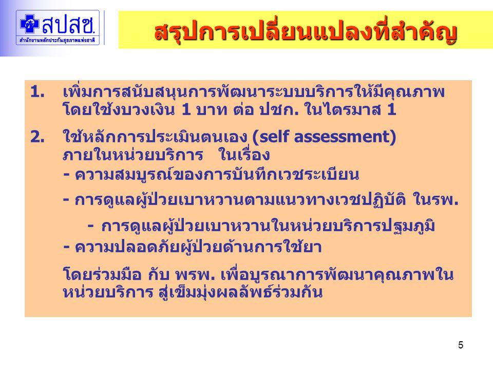 5 1.เพิ่มการสนับสนุนการพัฒนาระบบบริการให้มีคุณภาพ โดยใช้งบวงเงิน 1 บาท ต่อ ปชก. ในไตรมาส 1 2.ใช้หลักการประเมินตนเอง (self assessment) ภายในหน่วยบริการ