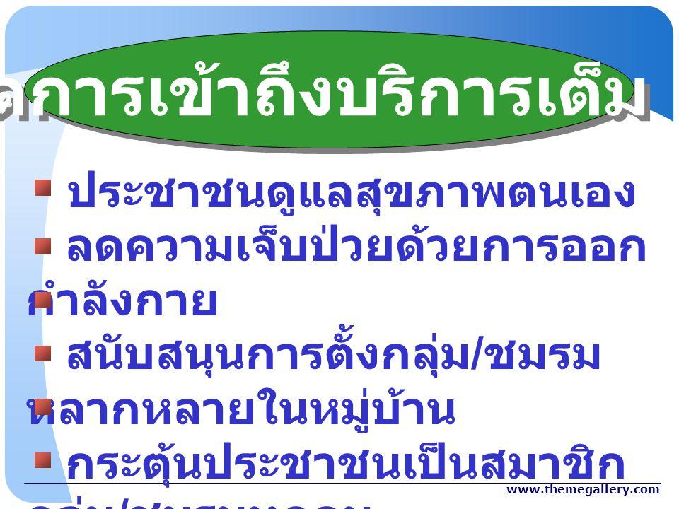 www.themegallery.com ประชาชนดูแลสุขภาพตนเอง ลดความเจ็บป่วยด้วยการออก กำลังกาย สนับสนุนการตั้งกลุ่ม / ชมรม หลากหลายในหมู่บ้าน กระตุ้นประชาชนเป็นสมาชิก