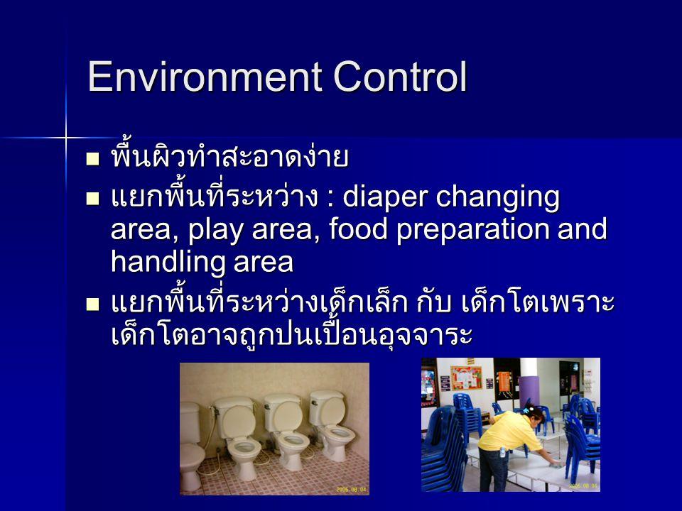 Environment Control พื้นผิวทำสะอาดง่าย พื้นผิวทำสะอาดง่าย แยกพื้นที่ระหว่าง : diaper changing area, play area, food preparation and handling area แยกพ
