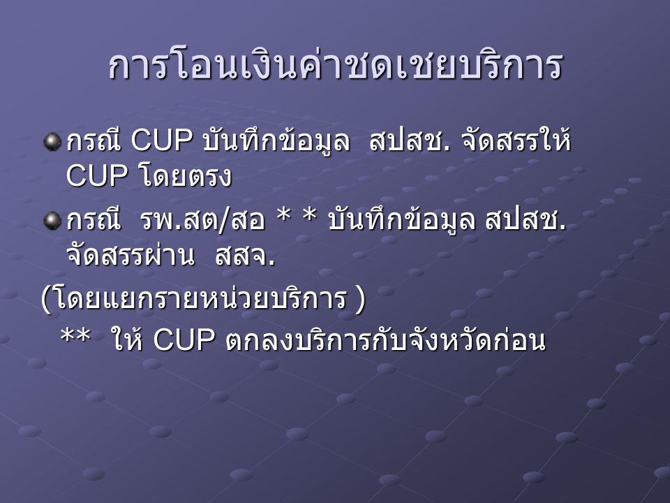 การโอนเงินค่าชดเชยบริการ กรณี CUP บันทึกข้อมูล สปสช. จัดสรรให้ CUP โดยตรง กรณี รพ. สต / สอ * * บันทึกข้อมูล สปสช. จัดสรรผ่าน สสจ. ( โดยแยกรายหน่วยบริก