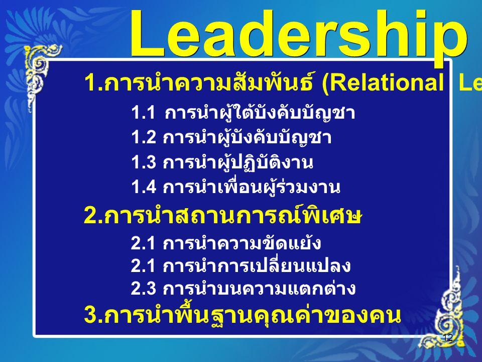 12 Leadership 1. การนำความสัมพันธ์ (Relational Leadership) 1.1 การนำผู้ใต้บังคับบัญชา 1.2 การนำผู้บังคับบัญชา 1.3 การนำผู้ปฏิบัติงาน 1.4 การนำเพื่อนผู