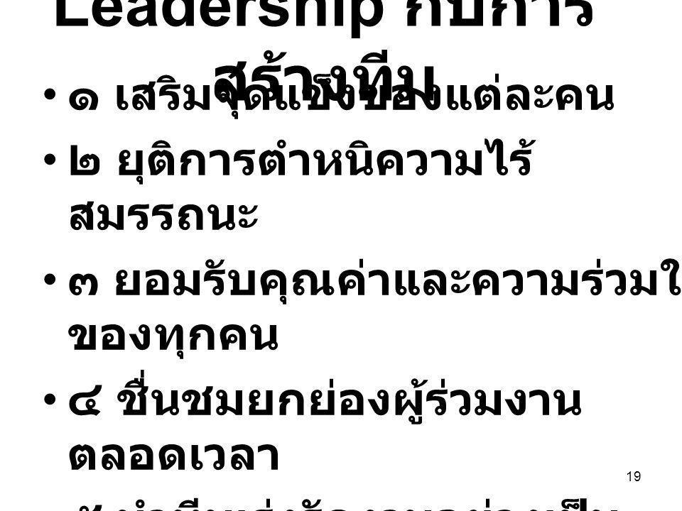 19 Leadership กับการ สร้างทีม ๑ เสริมจุดแข็งของแต่ละคน ๒ ยุติการตำหนิความไร้ สมรรถนะ ๓ ยอมรับคุณค่าและความร่วมใจ ของทุกคน ๔ ชื่นชมยกย่องผู้ร่วมงาน ตลอ