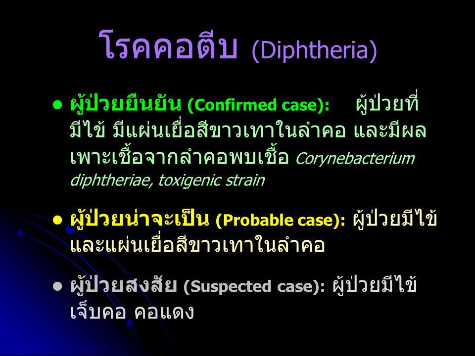 โรคคอตีบ (Diphtheria) ผู้ป่วยยืนยัน (Confirmed case): ผู้ป่วยที่ มีไข้ มีแผ่นเยื่อสีขาวเทาในลำคอ และมีผล เพาะเชื้อจากลำคอพบเชื้อ Corynebacterium diphtheriae, toxigenic strain ผู้ป่วยน่าจะเป็น (Probable case): ผู้ป่วยมีไข้ และแผ่นเยื่อสีขาวเทาในลำคอ ผู้ป่วยสงสัย (Suspected case): ผู้ป่วยมีไข้ เจ็บคอ คอแดง